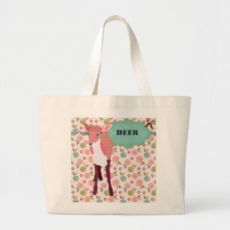 Retro Pretty Pink Deer Floral Bag