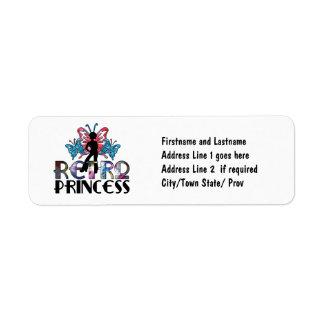 Retro Princess - Disco Girl Butterfly Fairy Return Address Label