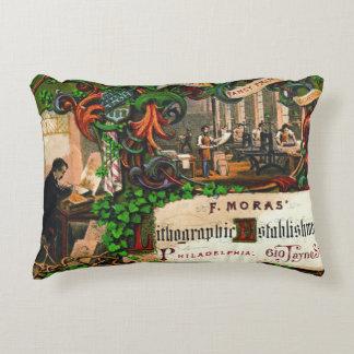 Retro Printing Ad 1867 Decorative Pillow