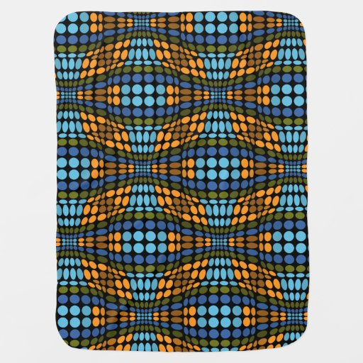 Retro psychedelic blue and orange dots receiving blanket