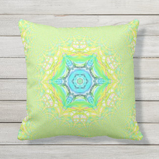 Retro Psychedelic Mint Pastel Mandala Pattern Throw Pillow