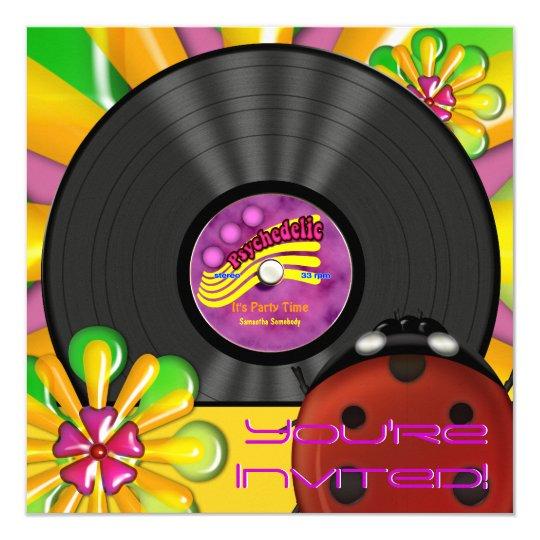 Retro Psychedelic Vinyl Record Party Invitations Zazzle Ca