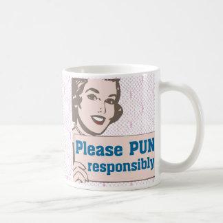 Retro Pun Responsibly Basic White Mug