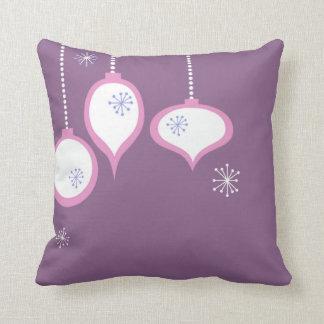Retro Purple 70's Christmas Throw Pillow
