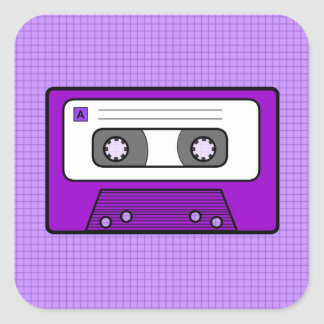 """Retro Purple 80""""s Mixtape Square Sticker"""