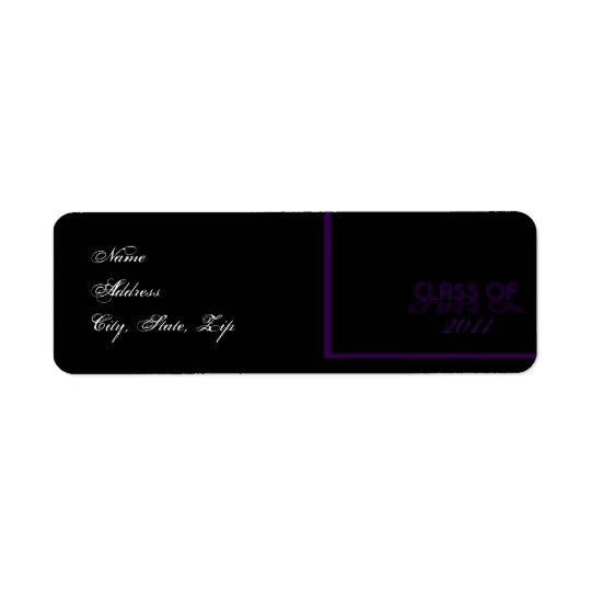 Retro Purple and Black Graduation Return Address Return Address Label
