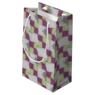 Retro Purple and Green Psychedelic Swirl Small Gift Bag
