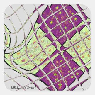 Retro Purple and Green Psychedelic Swirl Square Sticker