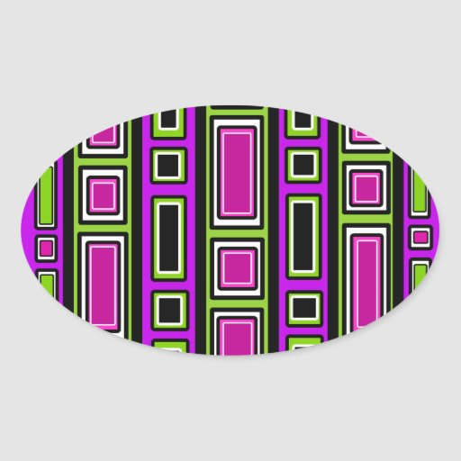 Retro purple black green rectangle pattern oval stickers