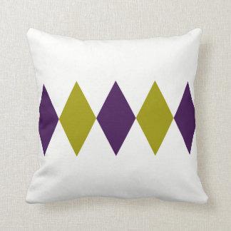 Retro Purple & Chartreuse Diamond Throw Pillow