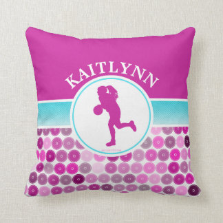 Retro Purple Circles Basketball by Golly Girls Throw Pillow