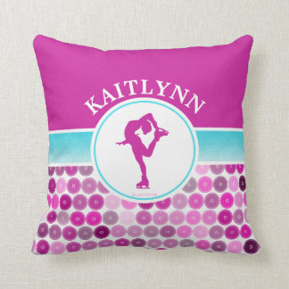 Retro Purple Circles Figure Skater by Golly Girls Throw Pillow