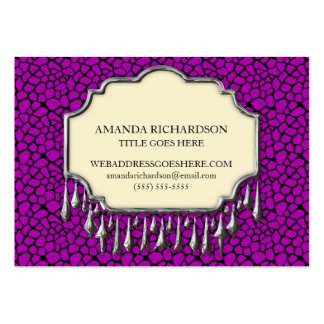 Retro Purple Crocodile Skin With Bling Business Card Template