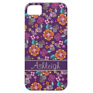 Retro Purple Floral Pattern iPhone 5 Cases