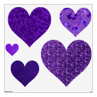Retro Purple Hearts Heart Wall Decals