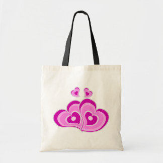 Retro Purple Hearts Love Pink Lavender Wedding Tote Bag