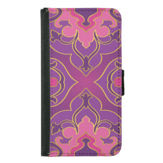 Retro,purple,hot pink, gold,floral,vintage,trendy, samsung galaxy s5 wallet case