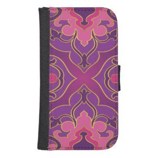 Retro,purple,hot pink, gold,floral,vintage,trendy, samsung s4 wallet case