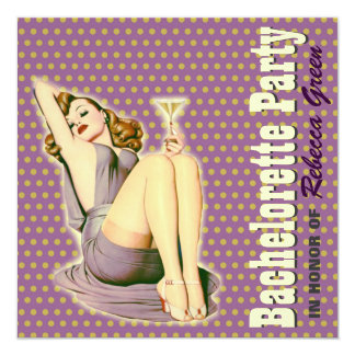 retro purple martini bachelorette party invitation