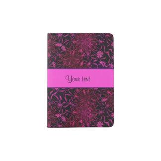 Retro purple & Pink Flowers Passport Holder