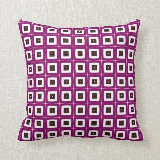 retro purple squares throw pillow