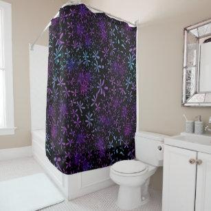 Retro Purple Turquoise Floral Batik Shower Curtain