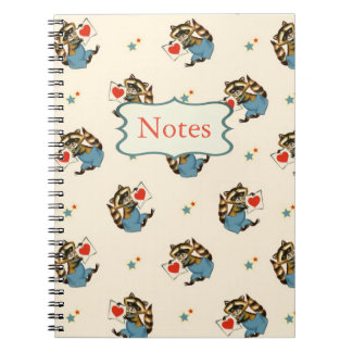 Retro Raccoon Valentine with a Love Letter Notebook