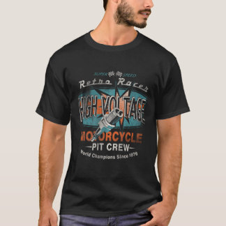 Retro Racer High Voltage Motorcycle Pit Crew T-Shirt