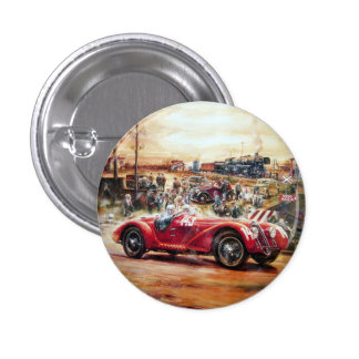 Retro racing car painting 1 inch round button