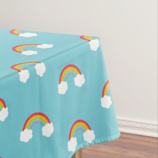 Retro Rainbow and Clouds Kids Birthday Tablecloth