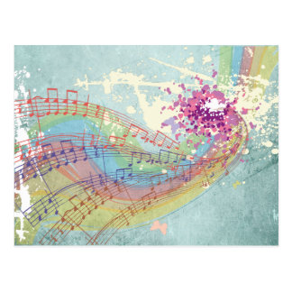 Retro Rainbow and Music notes on a shabby texture Postcard
