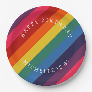 Retro Rainbow Custom Paper Plate with Your Text 9 Inch Paper Plate
