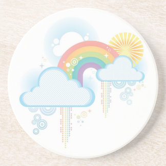 Retro Rainbow Design - Pastel Coaster