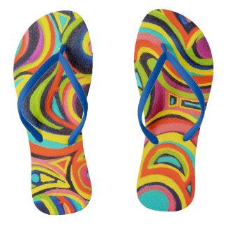 Retro Rainbow Flip Flops