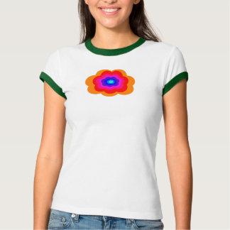 Retro Rainbow Flower Power Cap Sleeve T-Shirt Top