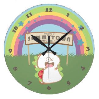 Retro rainbow happy sandwich kitchen clock