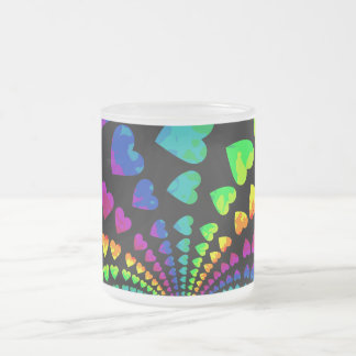 Retro rainbow hearts frosted glass coffee mug