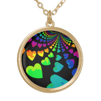 Retro rainbow hearts on black gold tone gold plated necklace