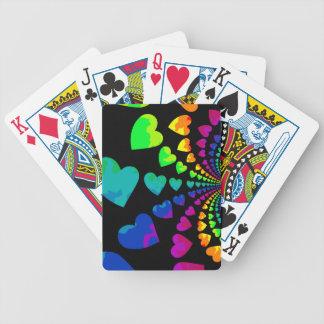Retro rainbow hearts on black poker deck