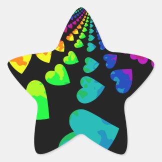 Retro rainbow hearts on black star sticker