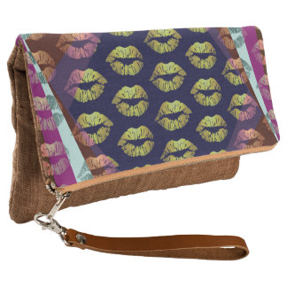 Retro Rainbow Lipstick Fold Over Clutch Bag