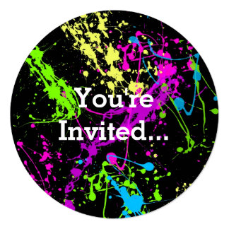 "Retro Rainbow of Neon Paint Splatters on Black 5.25"" Square Invitation Card"