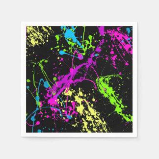 Retro Rainbow of Neon Paint Splatters on Black Disposable Napkins