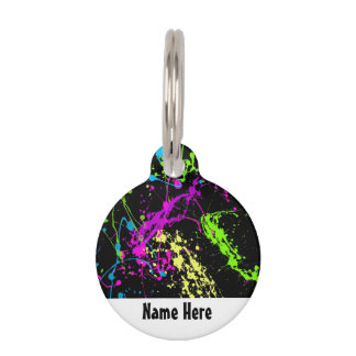 Retro Rainbow of Neon Paint Splatters on Black Pet Name Tag