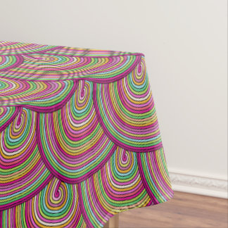 Retro Rainbow Psychedelic Circles Pattern Tablecloth