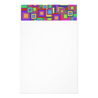 Retro Rainbow Squares Pattern Stationery