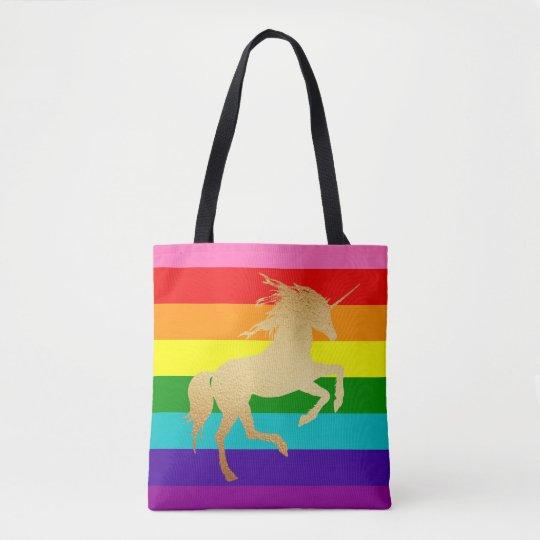 Retro Rainbow Stripe and Golden Unicorn Tote Bag
