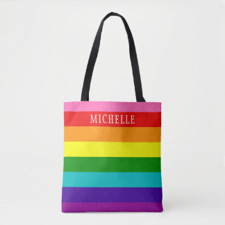 Retro Rainbow Stripe Personalized Name Tote Bag
