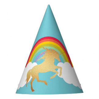 Retro Rainbows Clouds and Gold Unicorn Party Hat