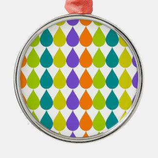 Retro Raindrops3 Silver-Colored Round Ornament